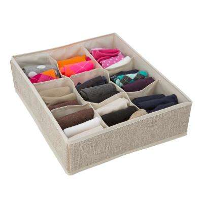 14 in. x 12 in. x 4 in. 9 Compartment Faux Jute Drawer Organizer