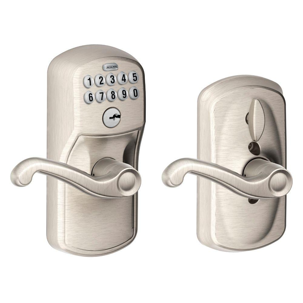 Schlage Flair Satin Nickel Keypad Electronic Door Lever with Plymouth Trim Featuring Flex Lock