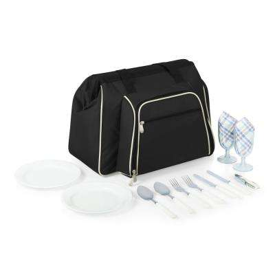 Toluca Black Wood Picnic Cooler Tote