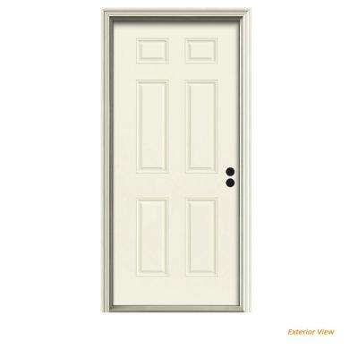 32 in. x 80 in. 6-Panel Vanilla Painted Steel Prehung Left-Hand Inswing Front Door w/Brickmould
