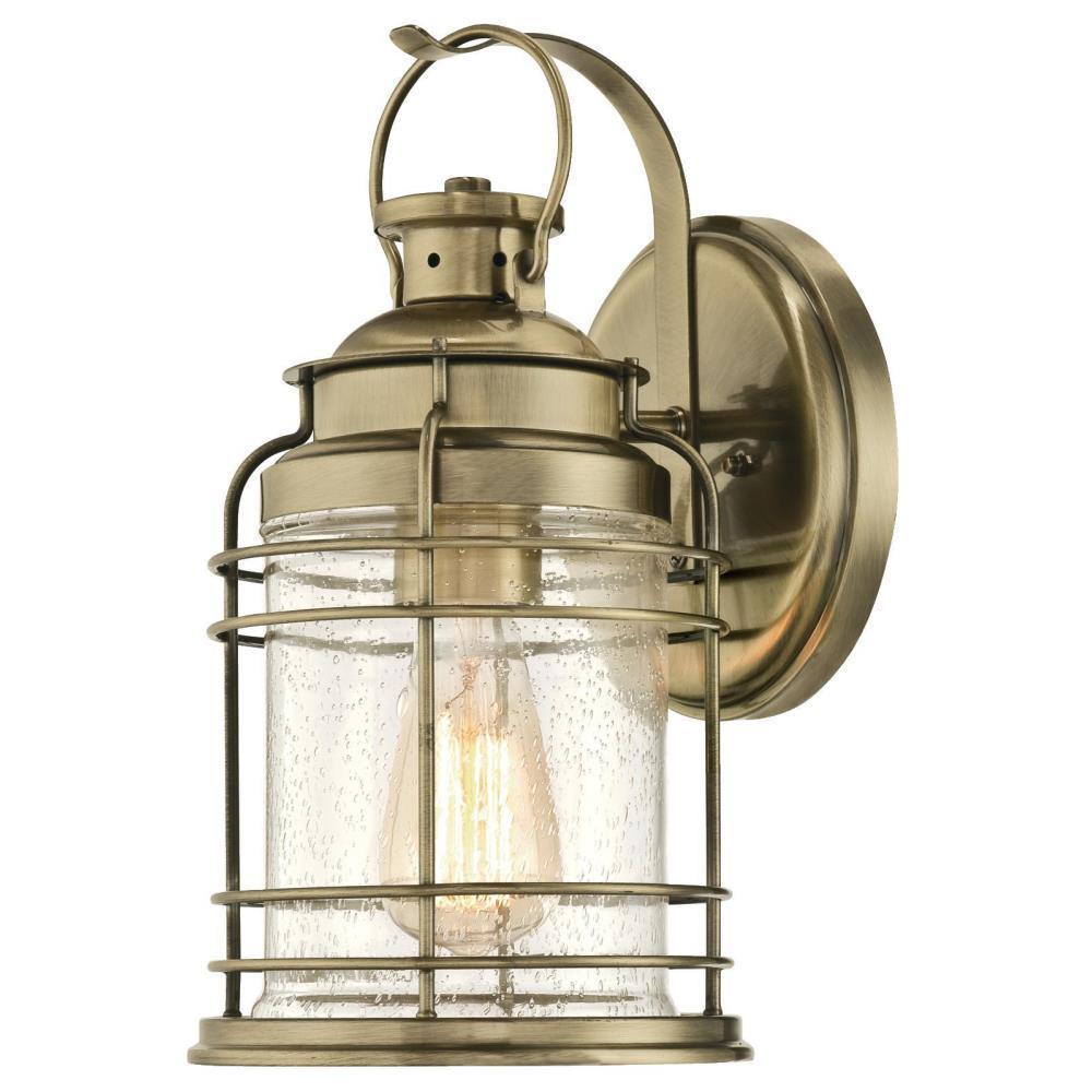 Kellen 1-Light Antique Brass Outdoor Wall Mount Lantern