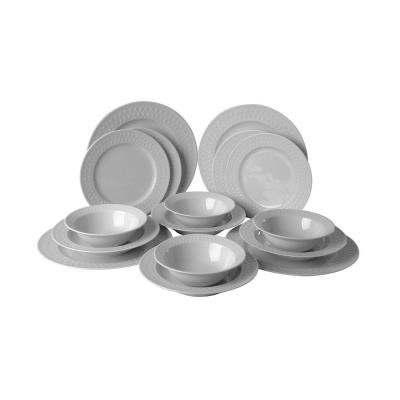 Kutahya Inci Collection 16-Piece in White Embossed Porcelain Dinnerware Set