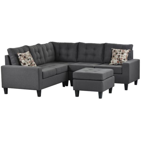 L-Shape Sofa 3-Piece Dark Grey Fabric Right Facing Symmetrical Sectionals with Storage Ottoman