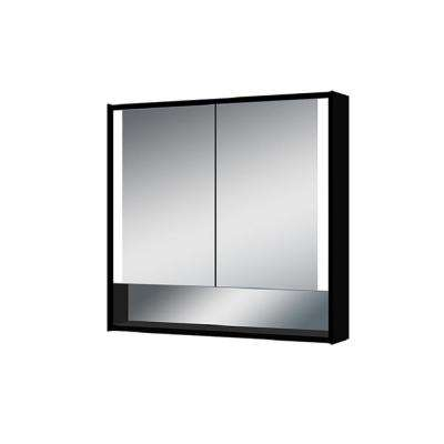 Edgar 31.5 in. W x 27.5 in. H x 5.25 in. D Lighted Impressions Surface-Mount LED Mirror Medicine Cabinet in Aluminum