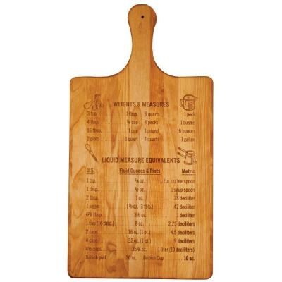 Hardwood Cutting Board with Measurements and Conversions