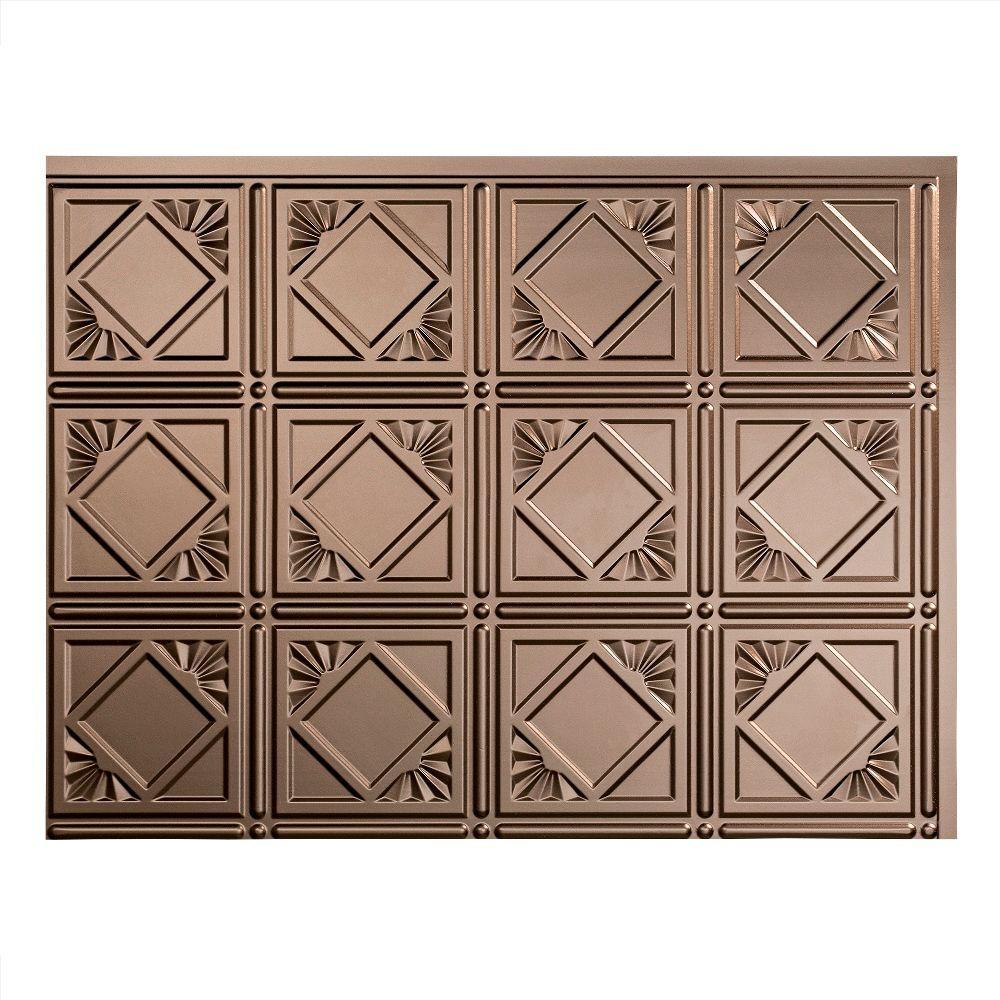 Traditional 4 18 in. x 24 in. Argent Bronze Vinyl Decorative Wall Tile Backsplash 18 sq. ft. Kit