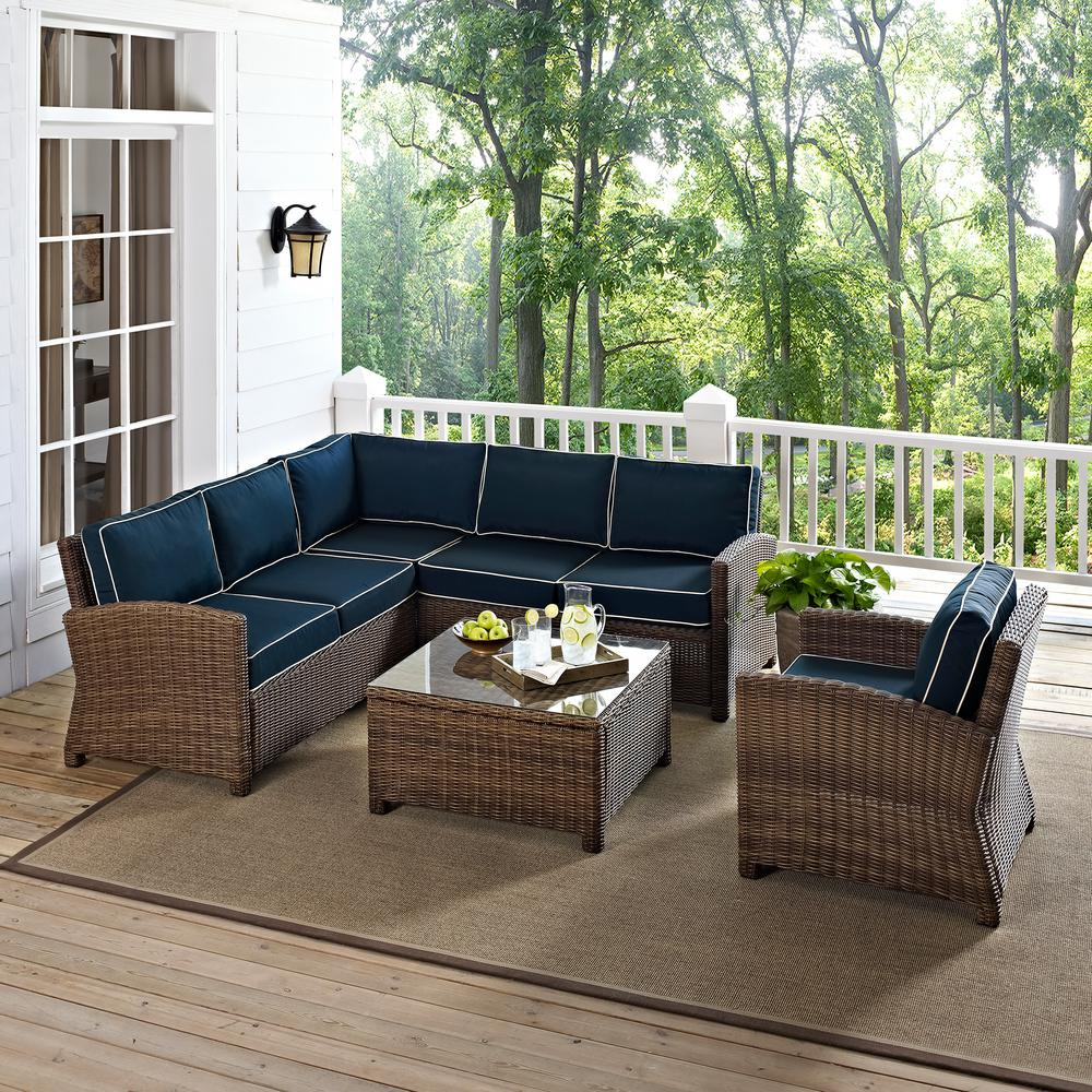 Bradenton 5-Piece Wicker Outdoor Sectional Set with Navy Cushions