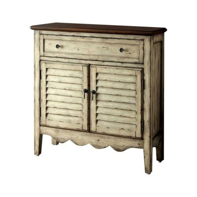 Hazen Country Style Antique White and Brown Cabinet 12 in. L x 36 in. W x 35.75 in. H