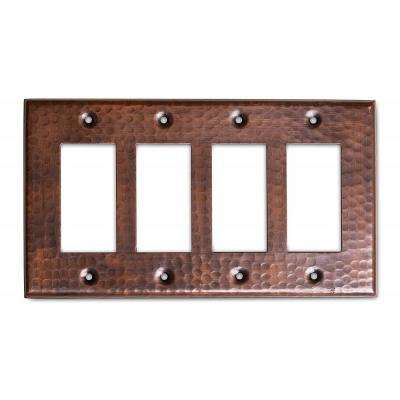 Pure Hand Hammered Quad Rocker Wall Plate, Copper