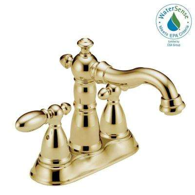 Victorian 4 in. Centerset 2-Handle Bathroom Faucet with Metal Drain Assembly in Polished Brass