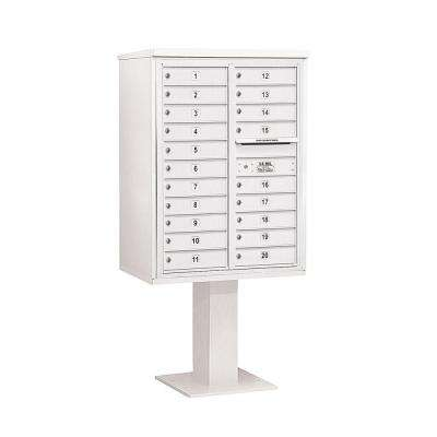 3400 Series White Mount 4C Pedestal Mailbox with 20 MB1 Doors