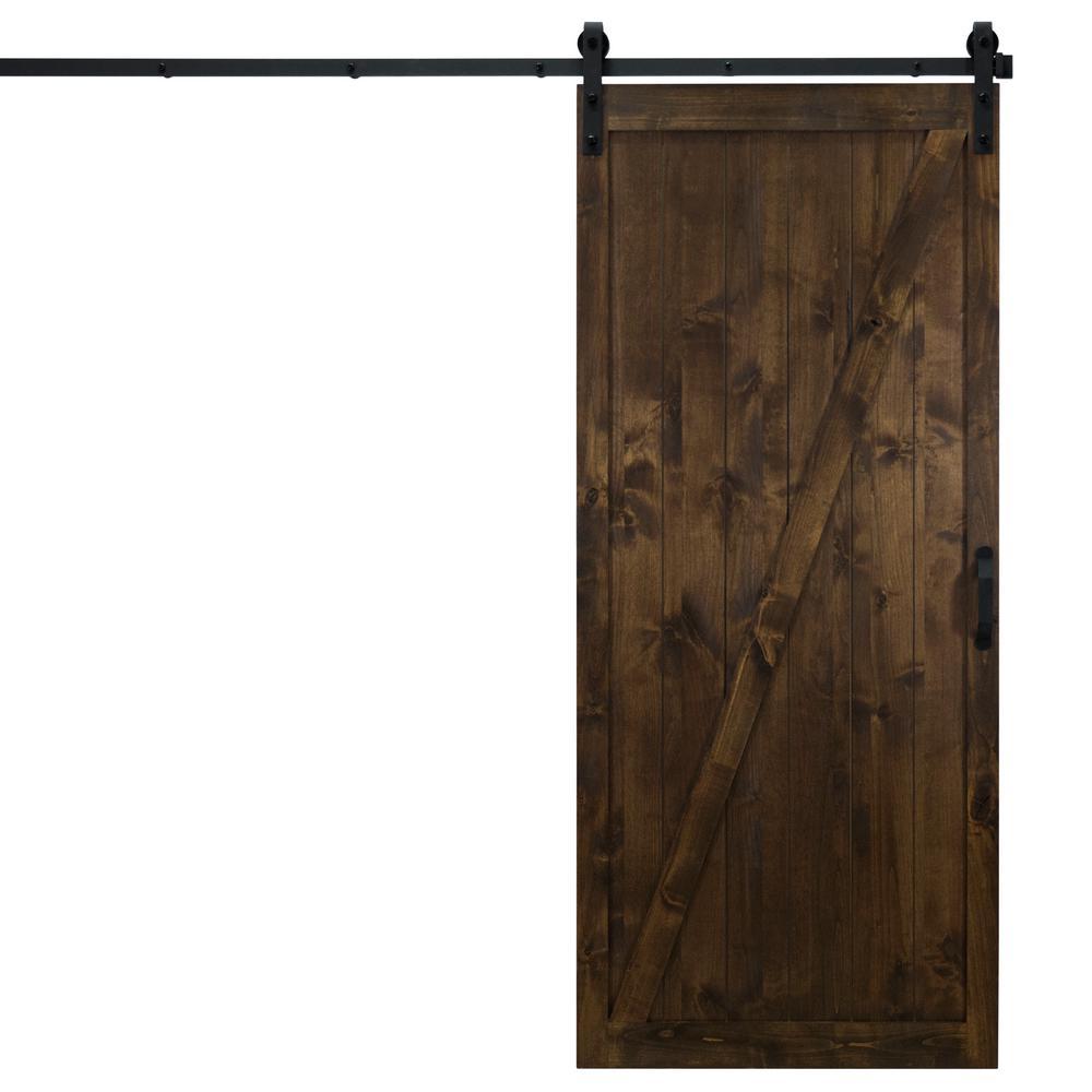 36 in. x 84 in. Classic Z Dark Chocolate Alder Wood Interior Barn Door Slab with Sliding Door Hardware Kit