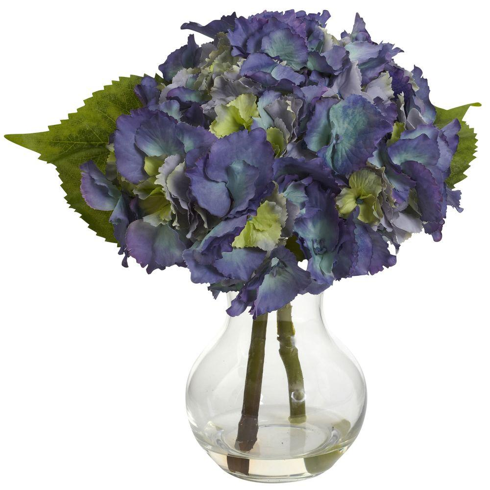 Nearly natural blooming hydrangea with vase arrangement 1370 bl nearly natural blooming hydrangea with vase arrangement izmirmasajfo