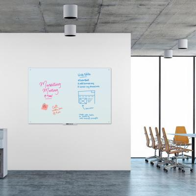 70 in. x 47 in. White Frosted Surface, Frameless Magnetic Glass Dry Erase Board for High Energy Magnets