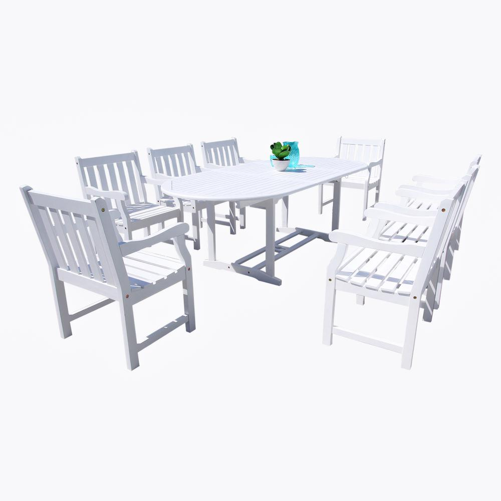 Vifah Wood Oval Extention Outdoor Dining Set