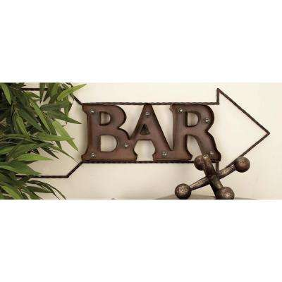 "34 in. x 12 in. Rustic ""Bar"" and Arrow Wall Sign with LED Lights"