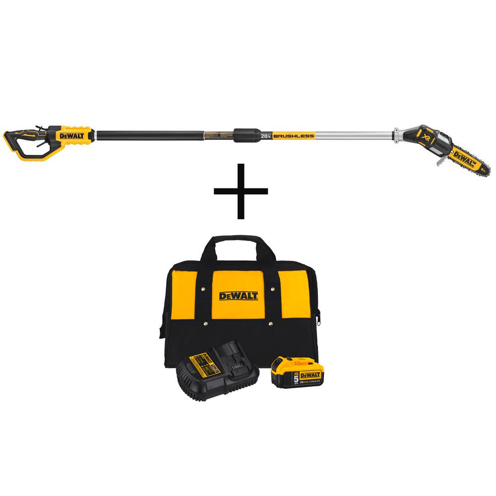 DEWALT 8 in. 20-Volt MAX Electric Cordless Pole Saw (Tool only) with Bonus 20-V MAX Li-Ion Battery Pack 5.0Ah, Charger & Bag