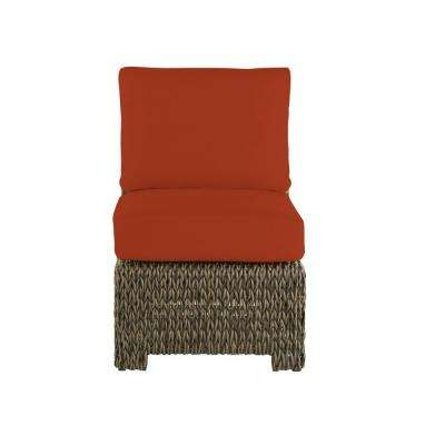 Laguna Point Brown Wicker Armless Middle Outdoor Patio Sectional Chair with CushionGuard Quarry Red Cushions