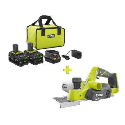 18-Volt ONE+ High Capacity 4.0 Ah Battery (2-Pack) Starter Kit with Charger and Bag with FREE ONE+ Cordless Planer