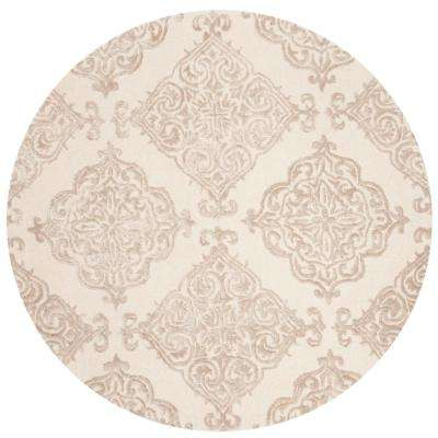 Glamour Ivory/Beige 6 ft. x 6 ft. Round Area Rug