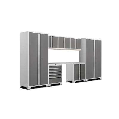 Pro 3.0 83.25 in. H x 156 in. W x 24 in. D 18-Gauge Steel Stainless Steel Worktop Cabinet Set in Platinum (8-Piece)