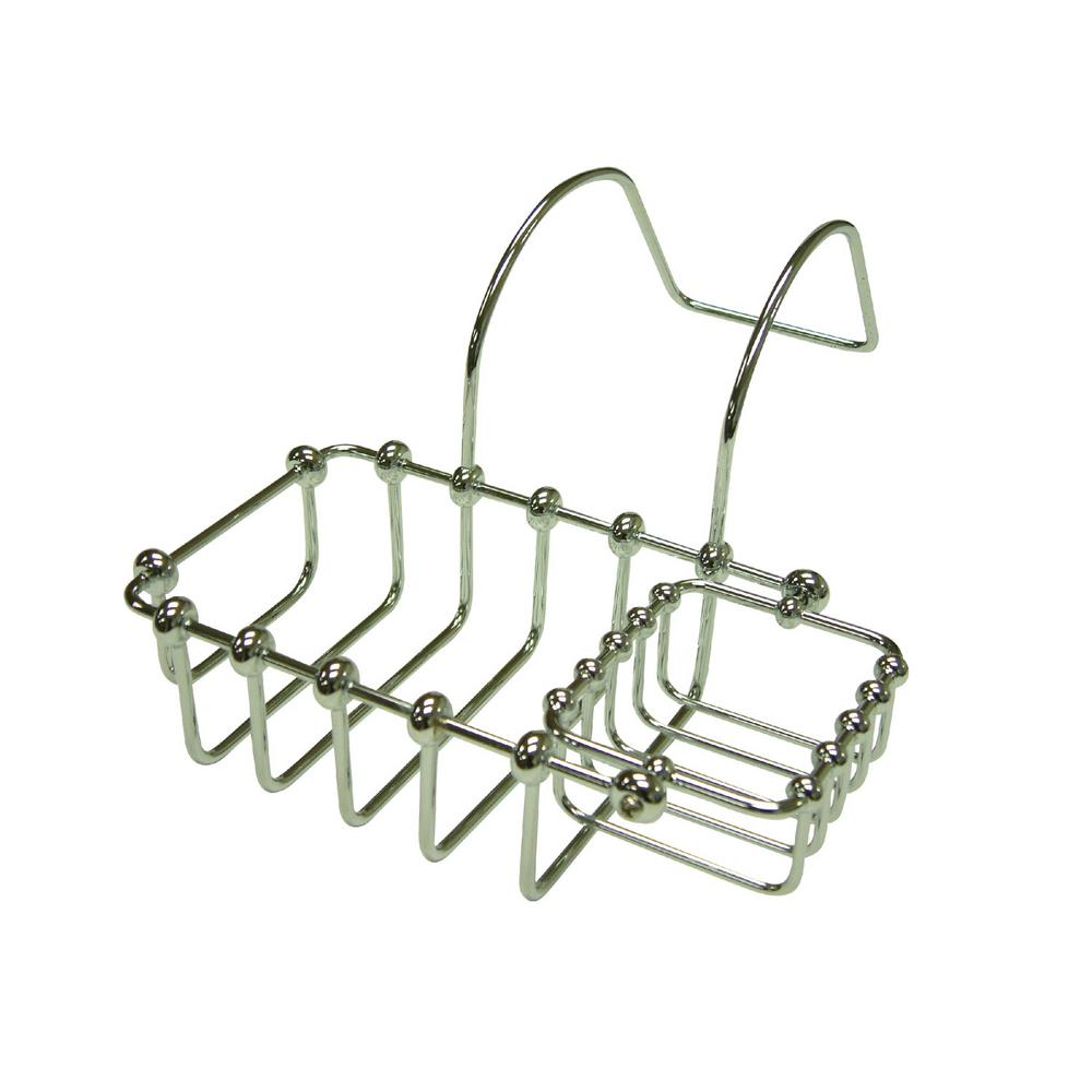 Swivel Soap and Sponge Claw Foot Bathtub Caddy in Polished Chrome