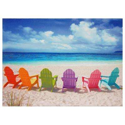 "Oriental Furniture 24 in. x 32 in. ""Beach Chairs"" Canvas Wall Art"