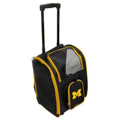 NCAA Michigan Wolverines Pet Carrier Premium Bag with wheels in Yellow