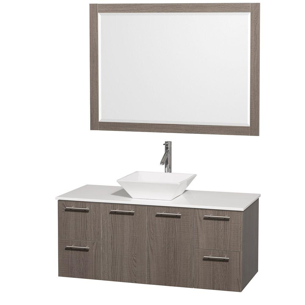 Wyndham Collection Amare 48 in. Vanity in Grey Oak with Man-Made Stone Vanity Top in White and White Porcelain Sink and Mirror