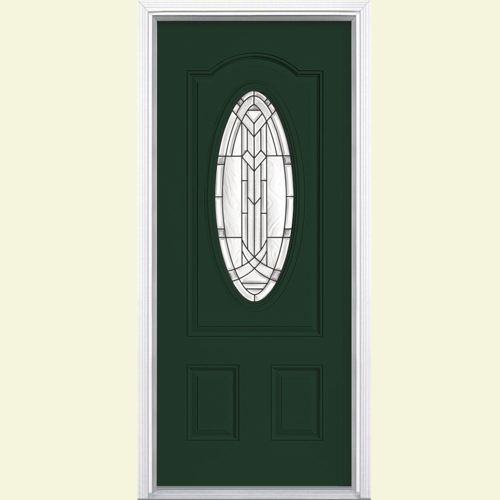 Masonite 36 in. x 80 in. Chatham 3/4 Oval Lite Left Hand Inswing Painted Smooth Fiberglass Prehung Front Door w/ Brickmold