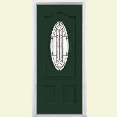 36 in. x 80 in. Chatham 3/4 Oval Lite Left Hand Inswing Painted Smooth Fiberglass Prehung Front Door w/ Brickmold