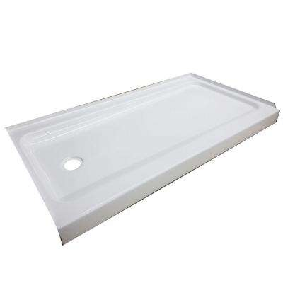 ShowerCast Plus 60 in. x 32 in. Single Threshold Shower Pan in White with Left Drain
