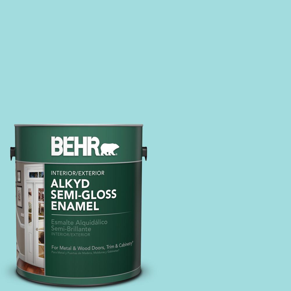 1 gal. #500A-3 Aqua Spray Semi-Gloss Enamel Alkyd Interior/Exterior Paint