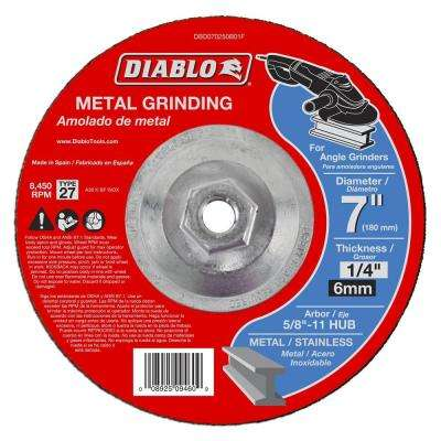 7 in. x 1/4 in. x 5/8-11 in. Metal Grinding Disc with Type 27 Depressed Center HUB (5-Pack)