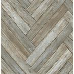 Chevron Wood Vinyl Strippable Roll (Covers 30.75 sq. ft.)