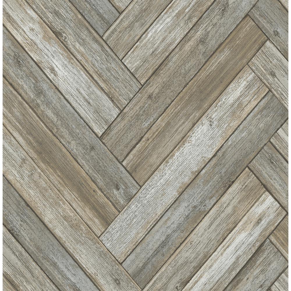 Neutral Chevron Wood Peel and Stick Wallpaper 30.75 sq. ft.