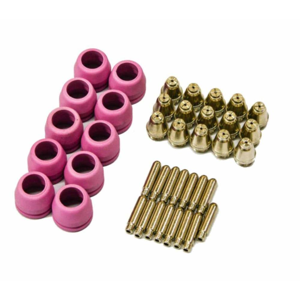 Plasma Cutter Nozzles, Electrodes and Cups Set (40-Piece) for Lotos Pilot