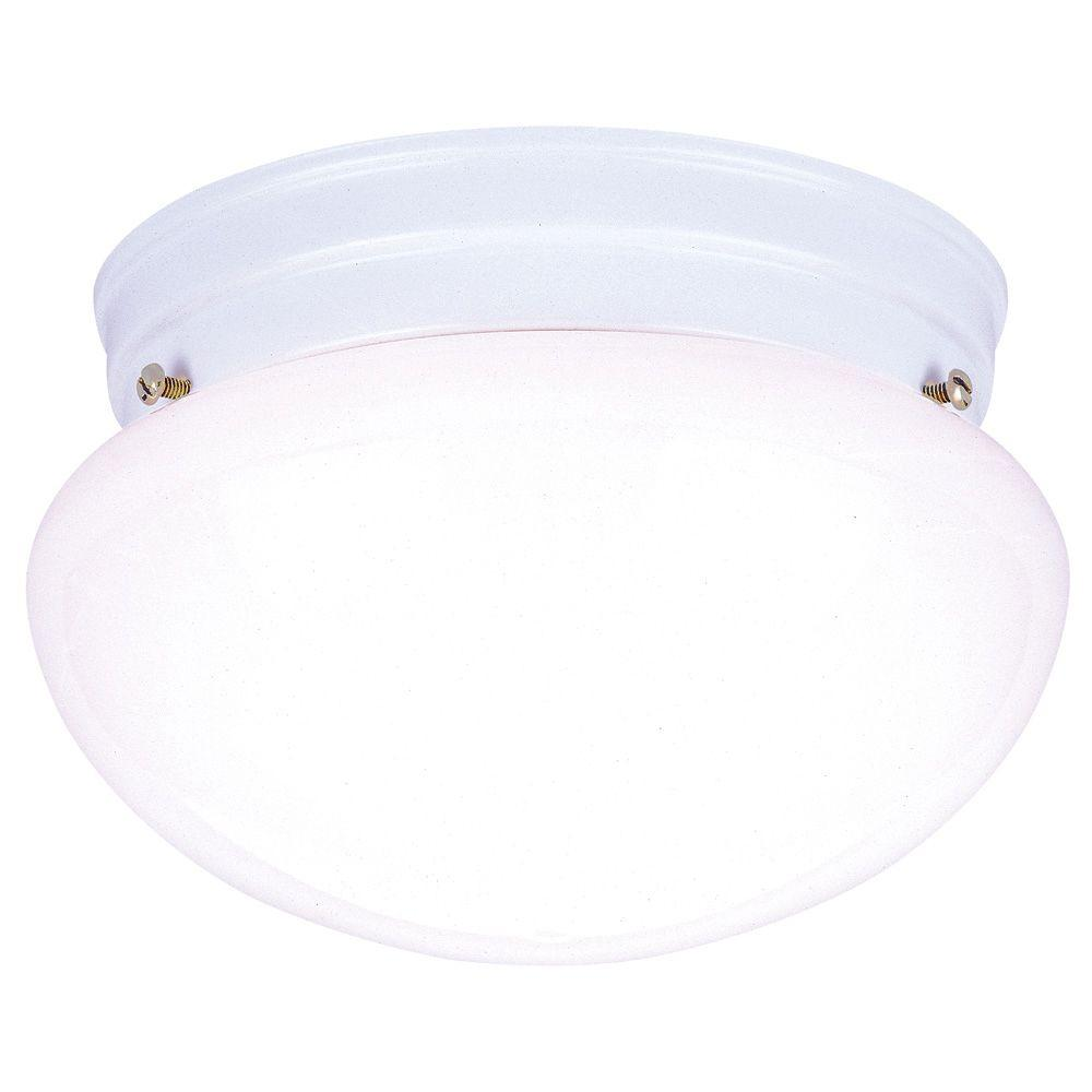 Westinghouse 2 Light Ceiling Fixture White Interior Flush Mount With White Glass 6661100 The