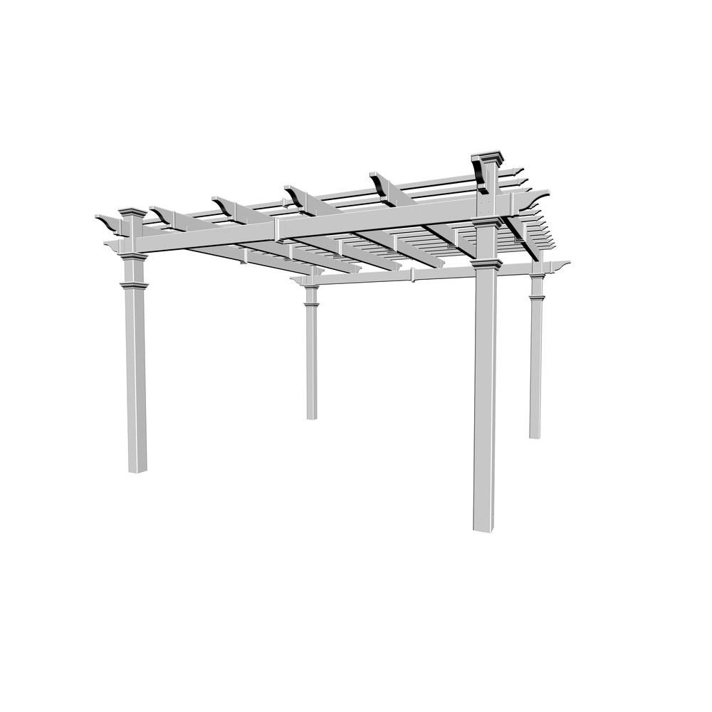 New England Arbors Regency 12 ft. x 12 ft. White Vinyl Pergola