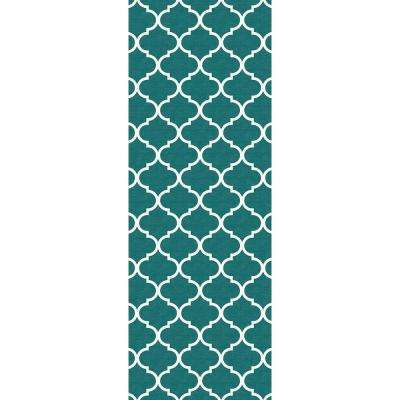 Washable Moroccan Trellis Teal 3 ft. x 7 ft. Runner Rug