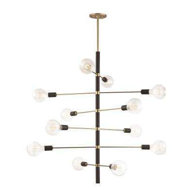 Astrid 12-Light Aged Brass Chandelier with Black Accents