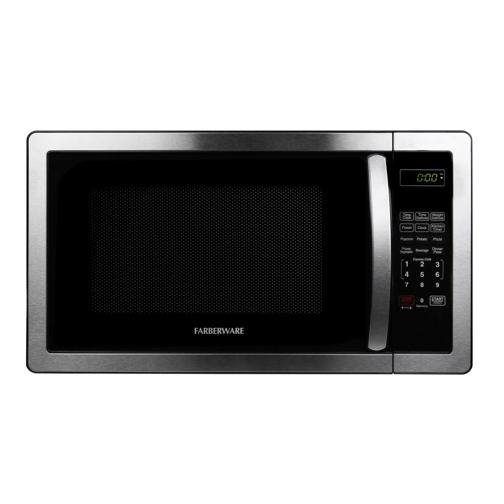Classic 1.1 cu. Ft. 1000-Watt Countertop Microwave Oven in Stainless Steel/Black