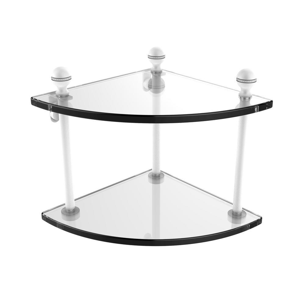 Mambo Collection 2 Tier Corner Glass Shelf in Matte White