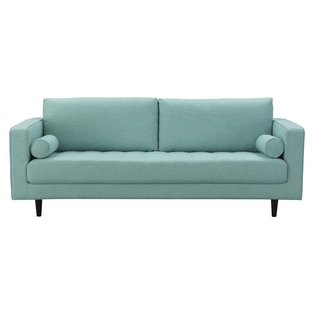 Manhattan Comfort Arthur 3 Seat Mint Green Blue Tweed Sofa