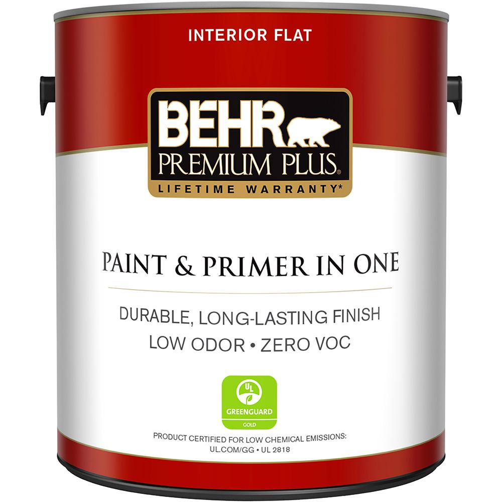 Behr Premium Plus 1 Gal Ultra Pure White Flat Zero Voc Interior Paint And Primer In One 105001