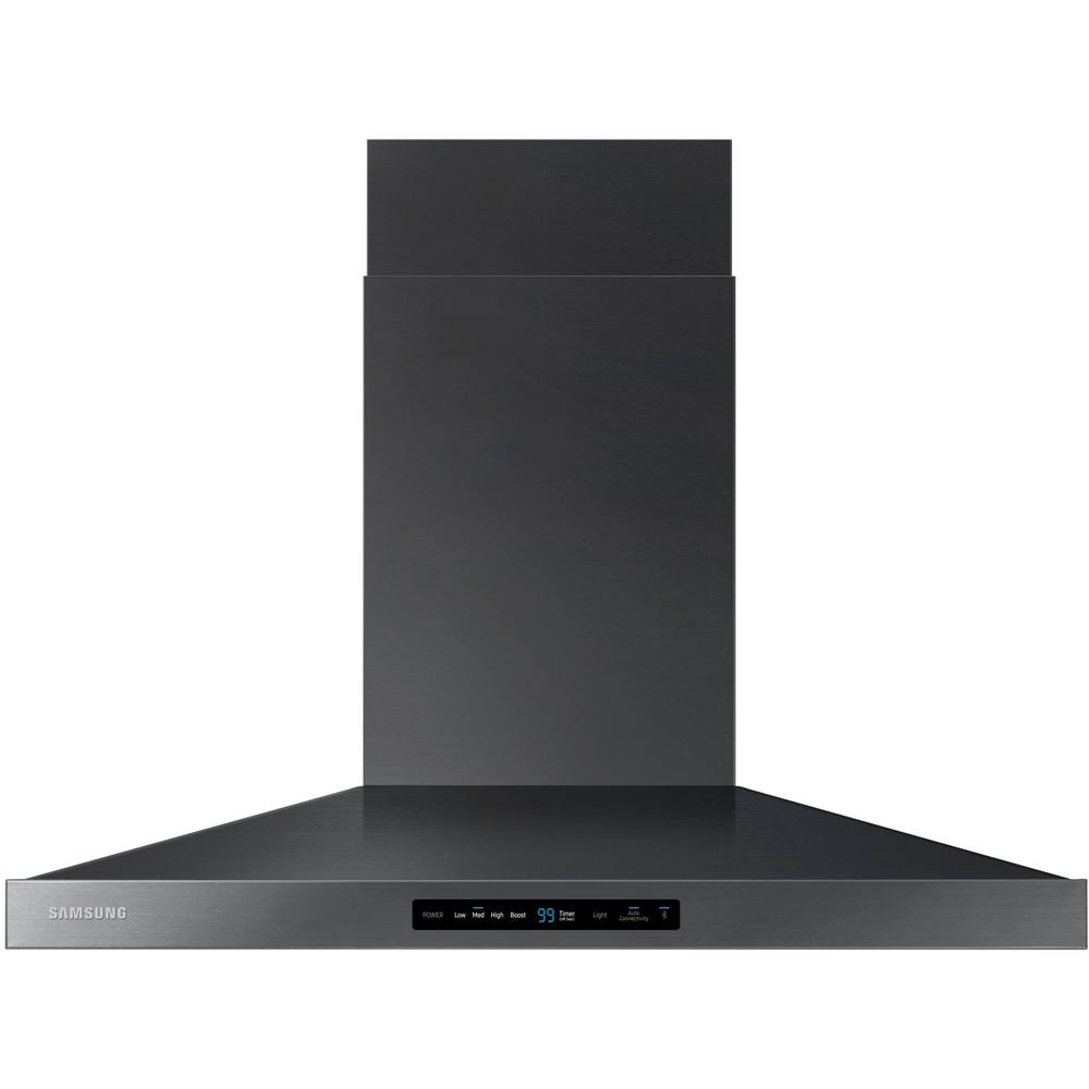 Samsung 36 in. Wall Mount Range Hood Touch Controls, Bluetooth Connected, LED Lighting in Fingerprint Resistant Black Stainless