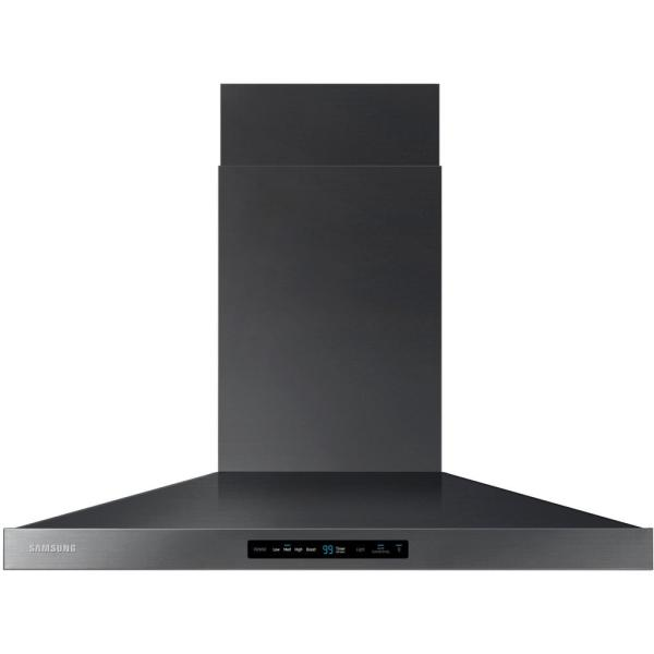 36 in. Wall Mount Range Hood Touch Controls, Bluetooth Connected, LED Lighting in Fingerprint Resistant Black Stainless