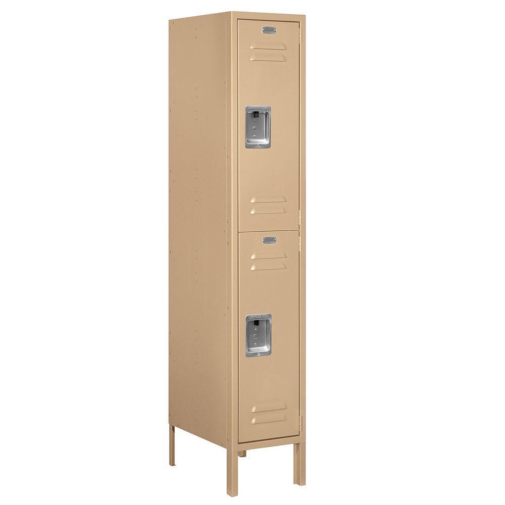 62000 Series 12 in. W x 66 in. H x 18 in. D 2-Tier Metal Locker Unassembled in Tan