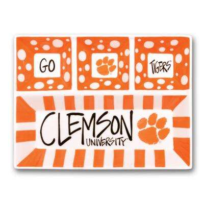 Clemson Ceramic 4 Section Tailgating Serving Platter