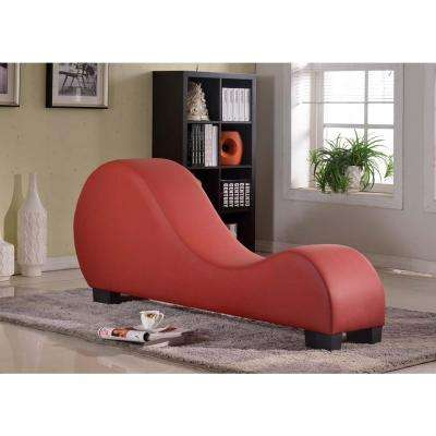 Red Faux Leather Chaise Lounge